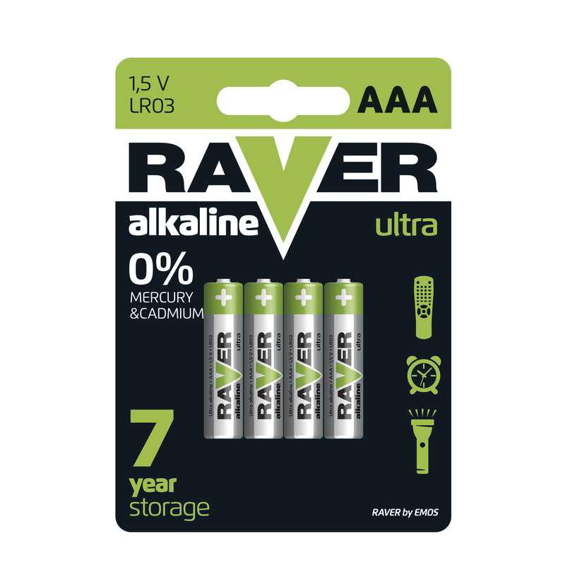 Baterii RAVER ALKALINE LR03 AAA (4BUC/BLISTER) EMO...