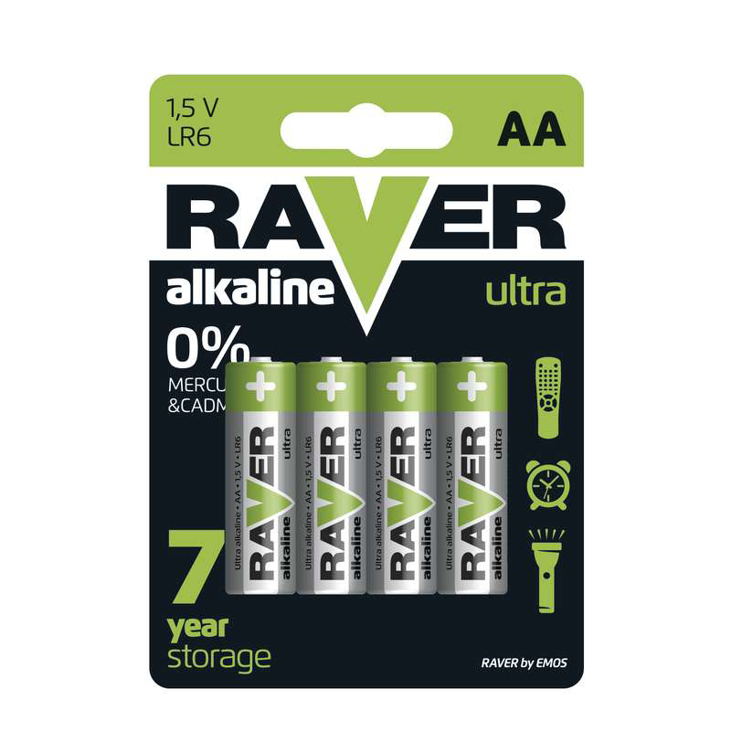 Baterii RAVER ALKALINE LR6 AA (4BUC/BLISTER) EMOS