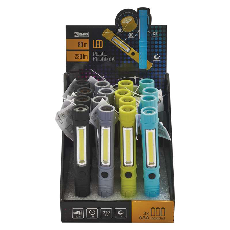 LANTERNA LED COB 1XLED 3XAAA 200LM PLASTIC P3897 EMOS