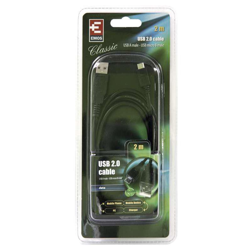 CABLU USB 2.0 A/M MICRO 2M SB7402 NEGRU EMOS