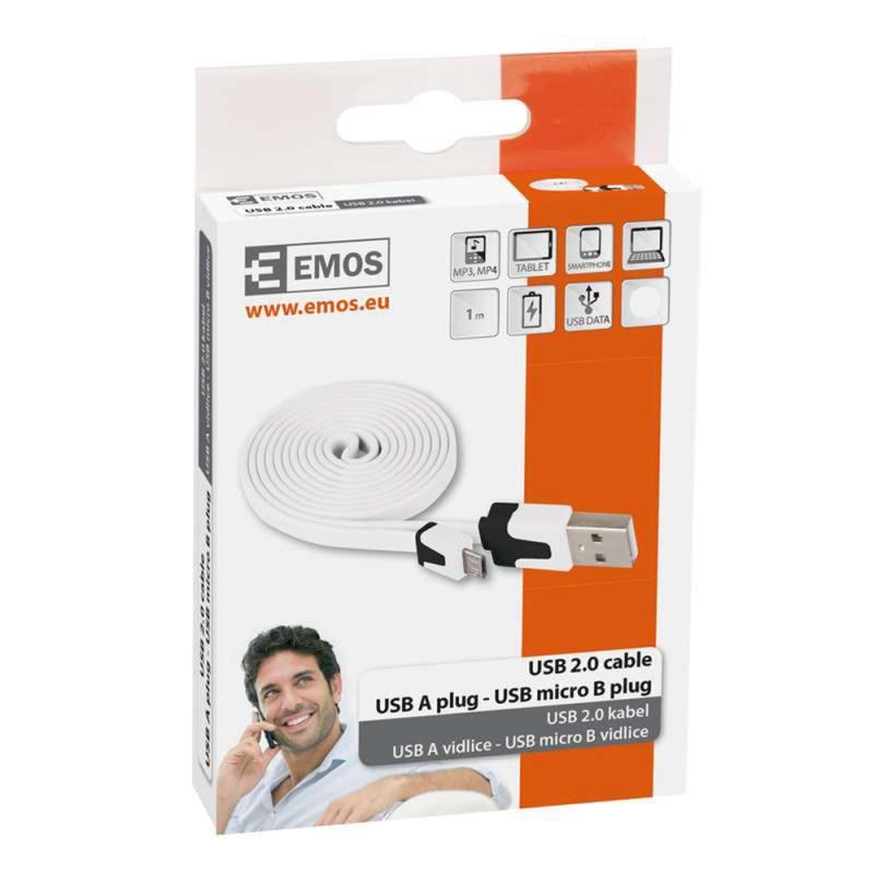 CABLU USB 2.0 A/M MICRO 1M SM7001G ALB EMOS