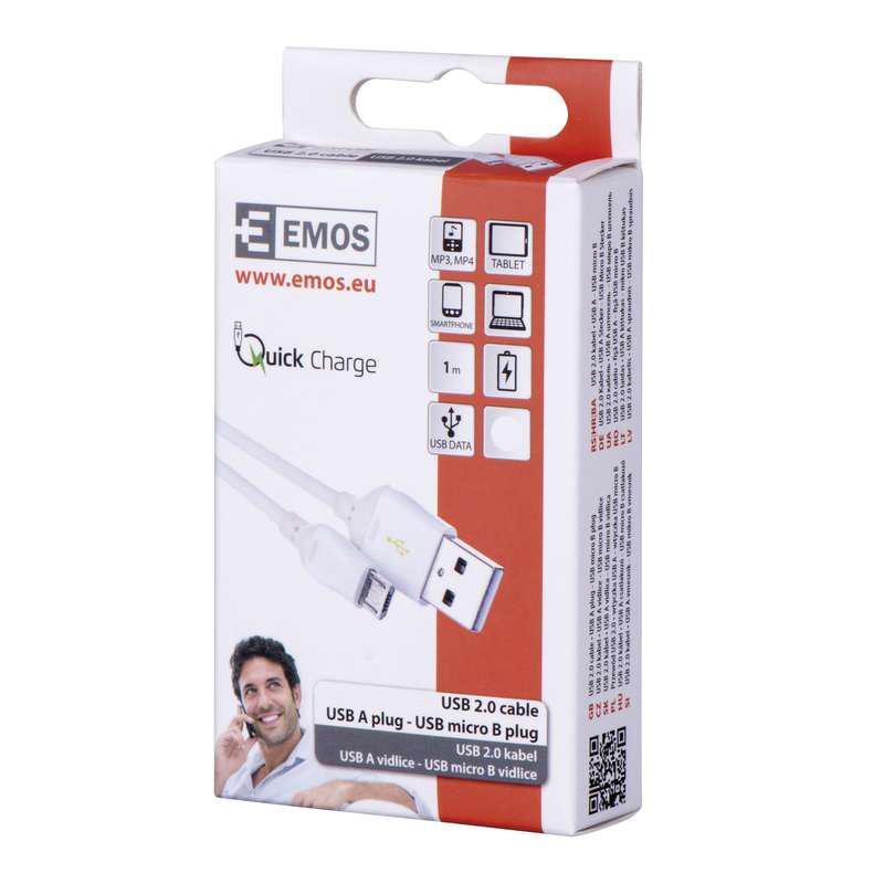 CABLU USB 2.0 A/M MICRO 1M SM7004B NEGRU EMOS