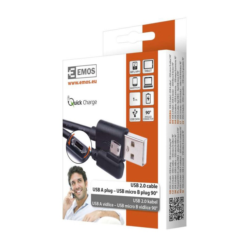 CABLU USB 2.0 A/M MICRO B/M 1M NEGRU SM7005BL EMOS