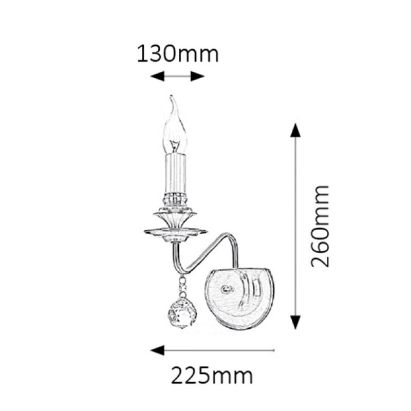 LAMPA DE PERETE BEATRICE E14 40W 260X225MM BRONZ RABALUX