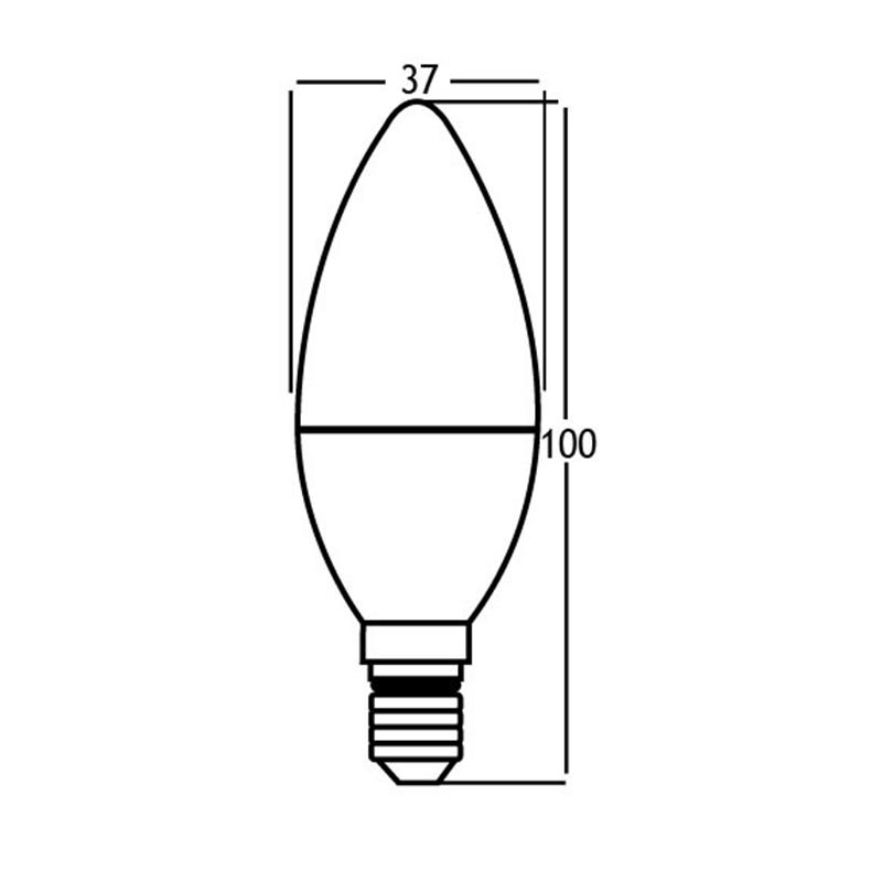BEC LED C37 6W 470LM E14 195-240V 6500K STRAAL