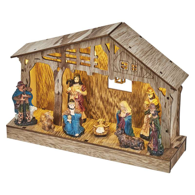 DECORATIUNE CRACIUN NATIVITY 5LED 2XAA 26X19CM ALB...