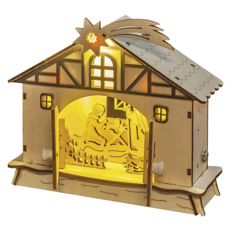 DECORATIUNE CRACIUN NATIVITY 4LED 2XAA 18X17CM ALB...