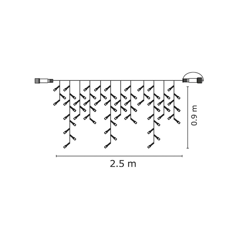 LANT CONECTABIL LUMINOS ȚURȚURI 100LED 2.5x0.9m 230V ALB RECE EMOS
