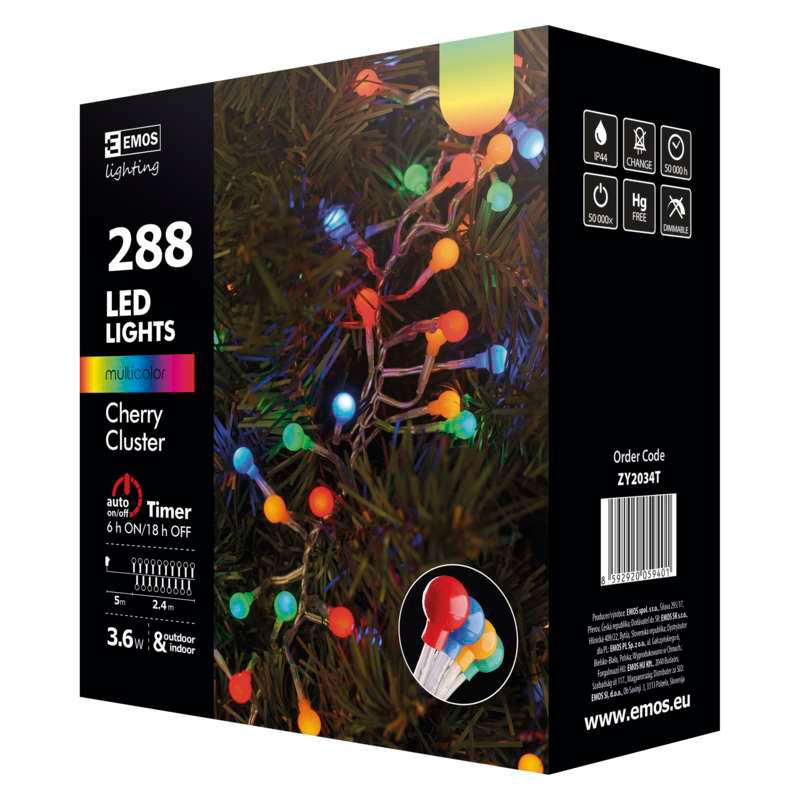 GHIRLANDA CHERRY 288LED CLUSTER 2.4M RGB EMOS