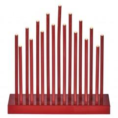 Sfeșnic roșu de Crăciun 3AA T 17LED Alb Cald EMOS