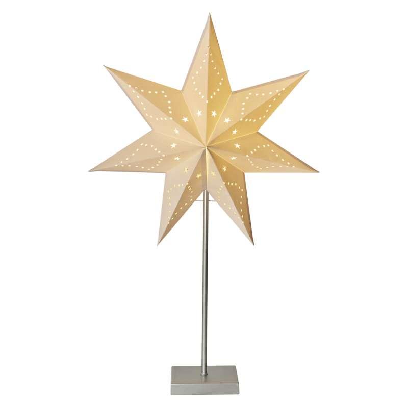 Hârtie cu stea LED de Crăciun pe suport 2XAA ALB...