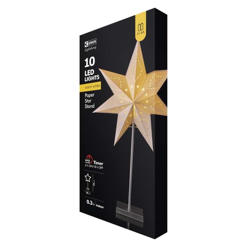 Hârtie cu stea LED de Crăciun pe suport 2XAA ALB CALD 45X70CM EMOS