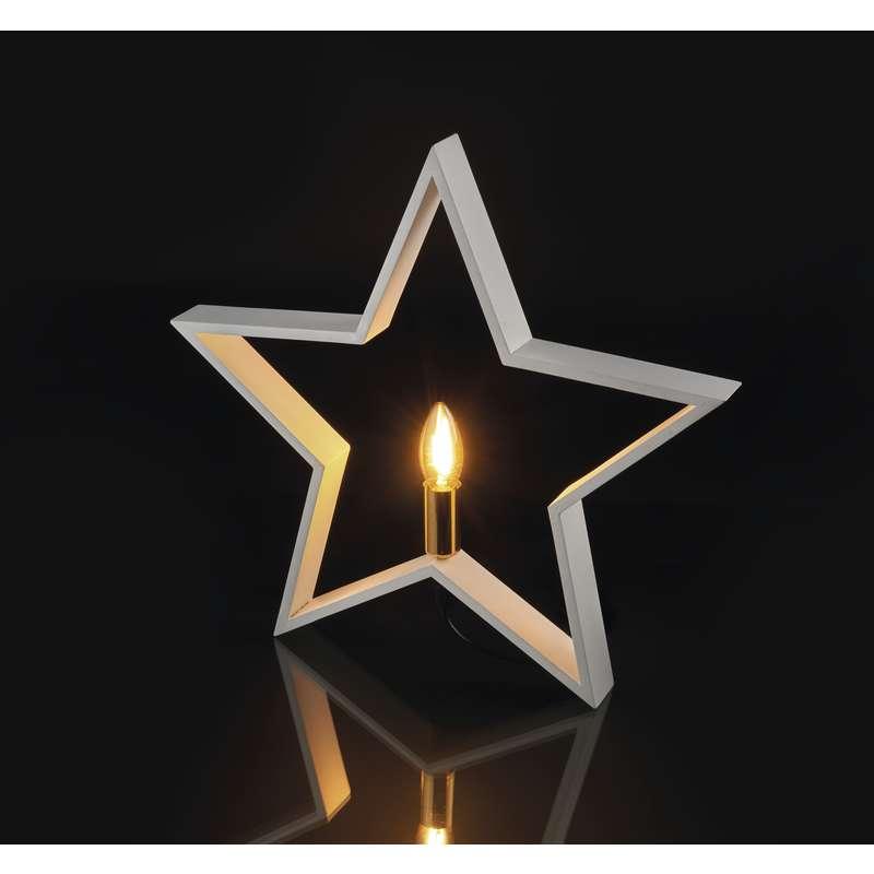 Suport lumânare din lemn, Stea, ALB 230V E14 EMOS