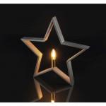 Suport lumânare din lemn, Stea, Gri 230V E14 EMOS