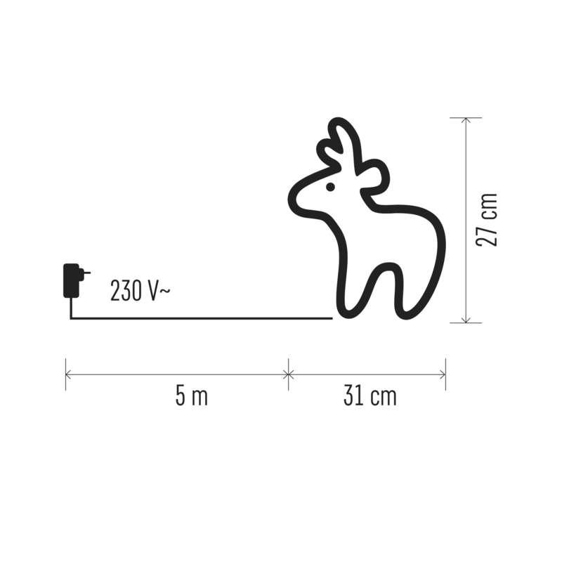 DECORATIUNE DE CRACIUN CERB 40LED 230V IP44 31X27cm ALB RECE EMOS