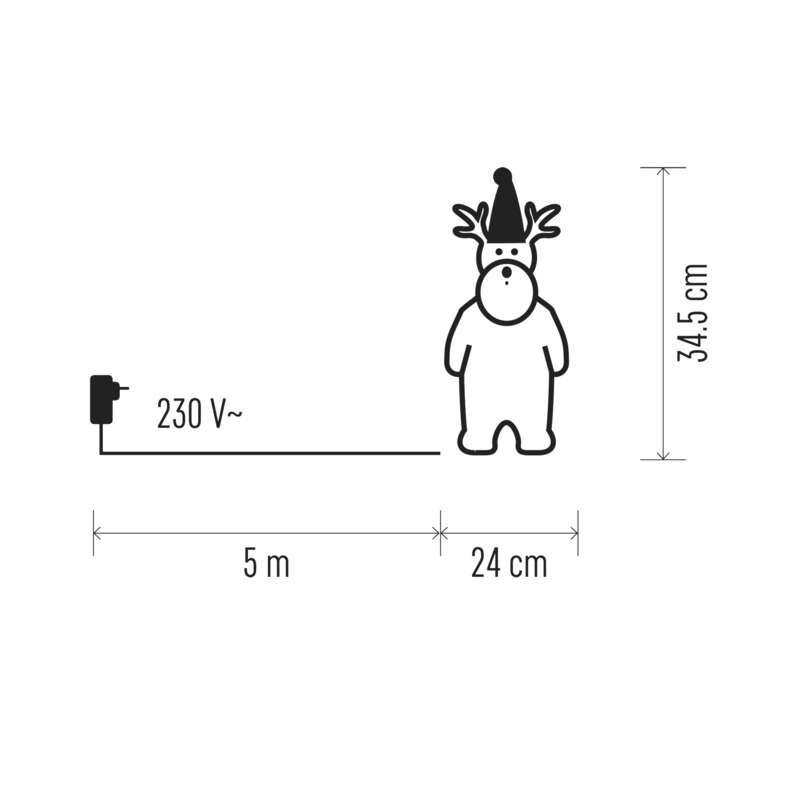 DECORATIUNE DE CRACIUN REN 40LED 230V IP44 24X34.5cm ALB RECE EMOS