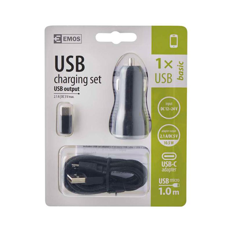 USB ADAPTOR MASINA 2.1A MICRO USB SI TYPE C V0219 EMOS