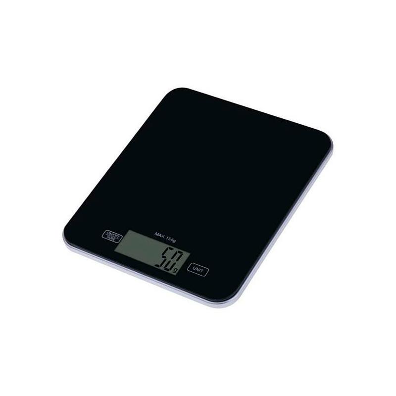 CÂNTAR DE BUCĂTĂRIE 15kg 2xAAA STICLA EV022 NEG...