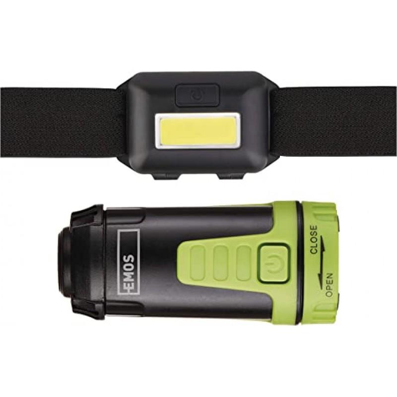 SET LANTERNA DE CAP LED+MINI LANTERNA CAMPING P400...