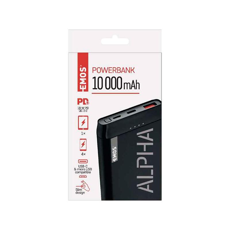 POWERBANK ALPHA Q 10.000 mAh/37Wh microUSB+USB-C B0524B EMOS