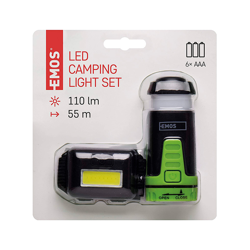 SET LANTERNA DE CAP LED+MINI LANTERNA CAMPING P4007 EMOS