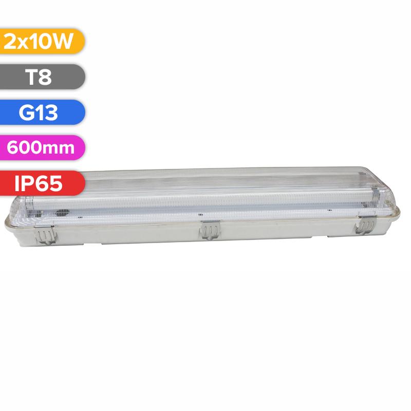 CORP DE ILUMINAT PENTRU TUB LED 2X10W 600MM IP65 FUCIDA