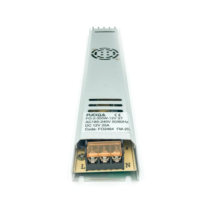 DRIVER BANDA LED SLIM 18MM 300W 25A 12VDC COOLER FUCIDA