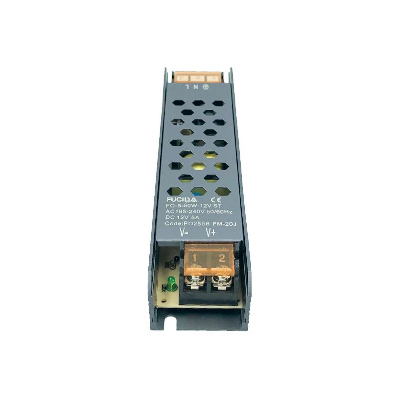 DRIVER BANDA LED BLACK 23MM 60W 5A 12VDC FUCIDA