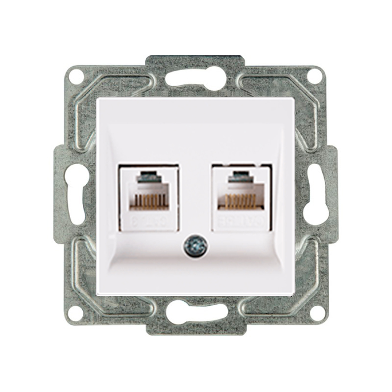 PRIZA DUBLA INT. RJ45 CAT.6+TF CAT.3 IVORY GUNSAN
