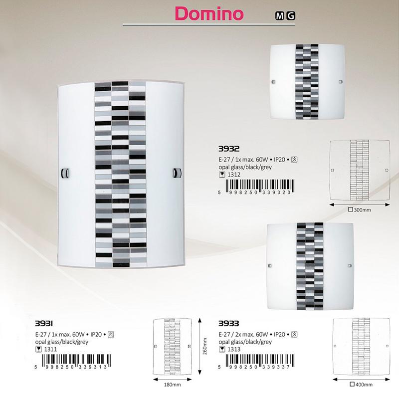 APLICA DE PERETE DOMINO E27 60W 180X260MM RABALUX
