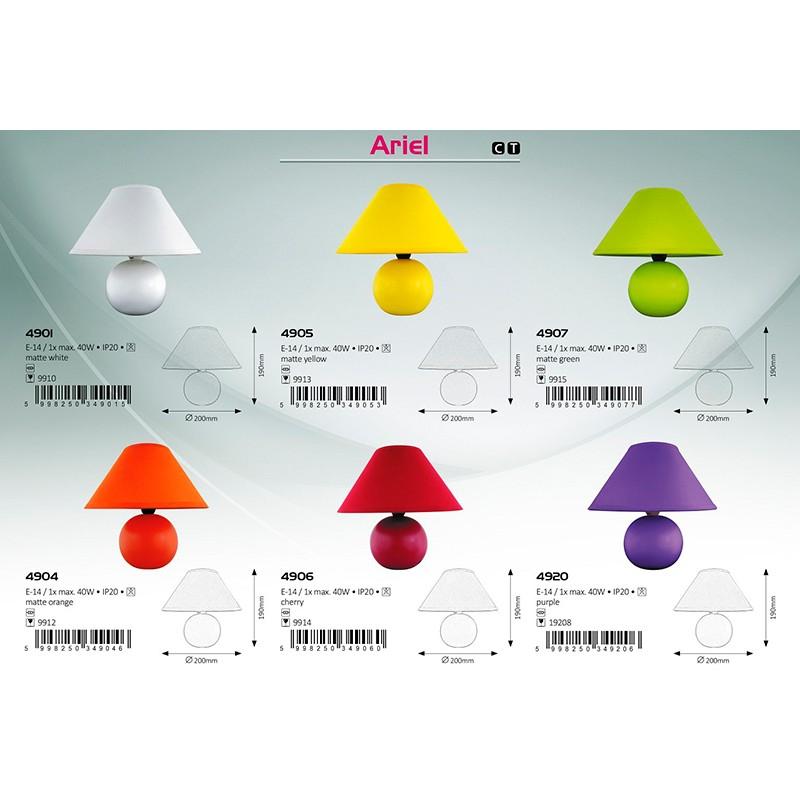 LAMPA DE MASA ARIEL E14 40W 200X190MM BORDO RABALUX