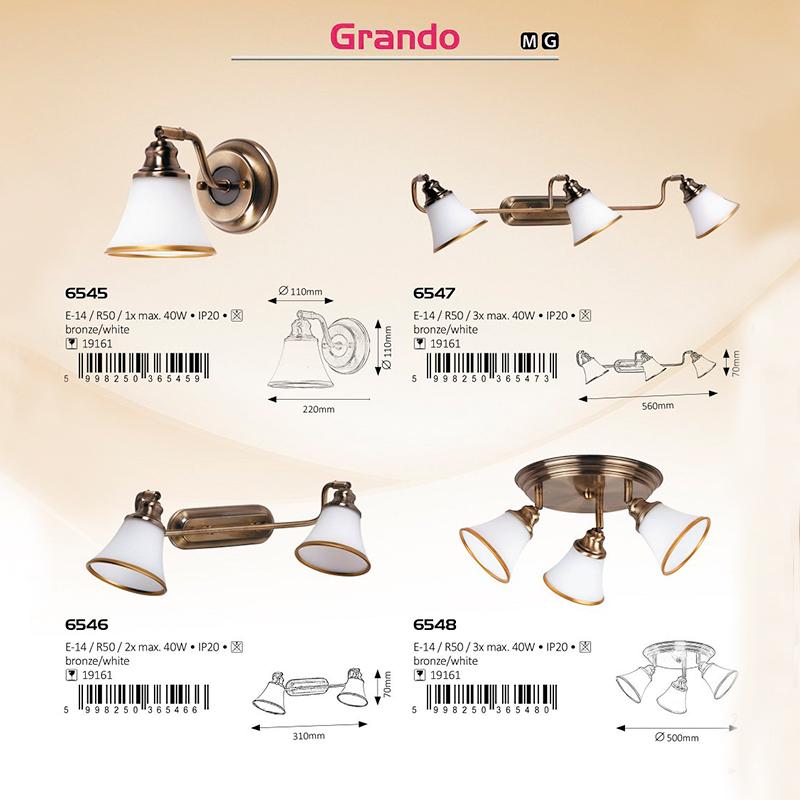 APLICA DE PERETE GRANDO E14 R50 2X 310X220MM ALB/BRONZE RABALUX