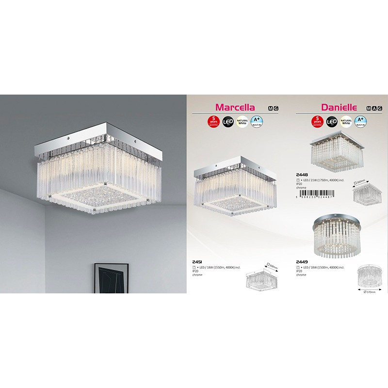 LUSTRA DANIELLE LED 21W 220-240V 360X360MM STICLA/METAL RABALUX