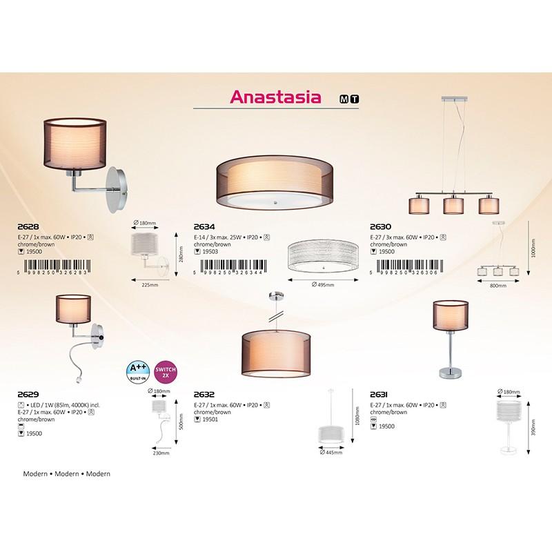 APLICA DE PERETE ANASTASIA E27 280X180MM CHROME/MARO RABALUX