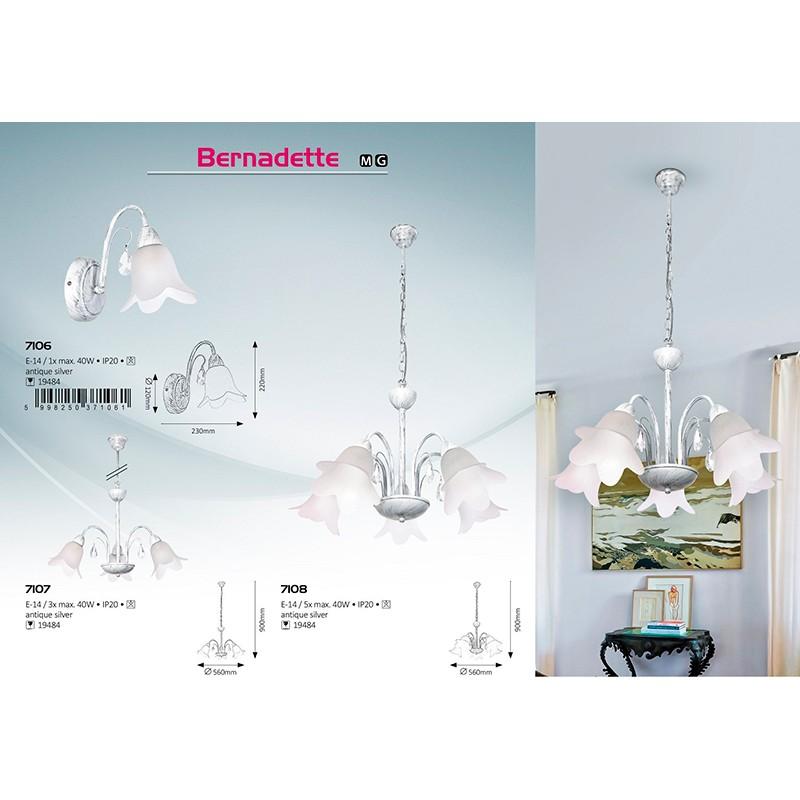 LUSTRA BERNADETTE E14 3XMAX. 40W 220-240V D560MM 900MM ALB ANTIC RABALUX