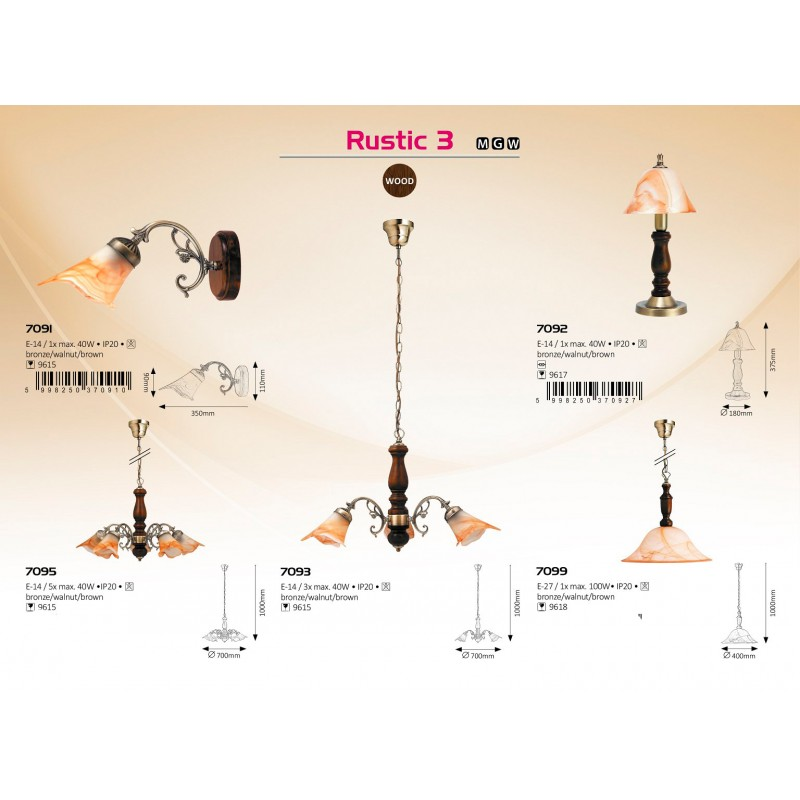 LUSTRA RUSTIC E14 5XMAX. 40W D700MM 1000MM MARO/BRONZE RABALUX