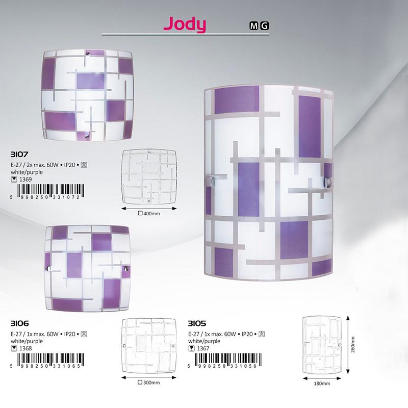 APLICA DE PERETE JODY E27 MAX. 60W 220-240V 180X260MM STICLA RABALUX
