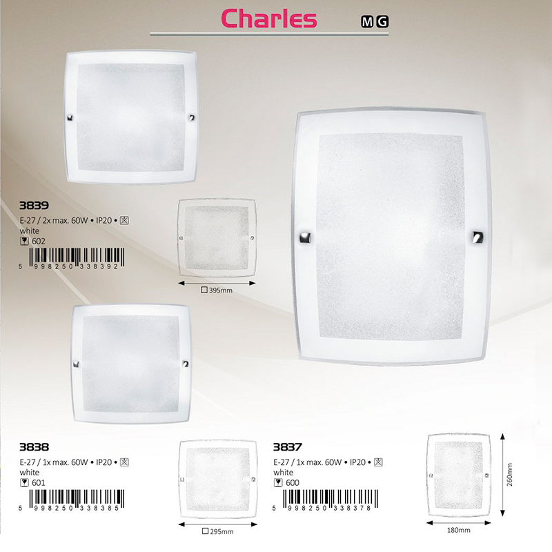 APLICA DE PERETE CHARLES E27 MAX. 60W180X260MM ALBĂ RABALUX