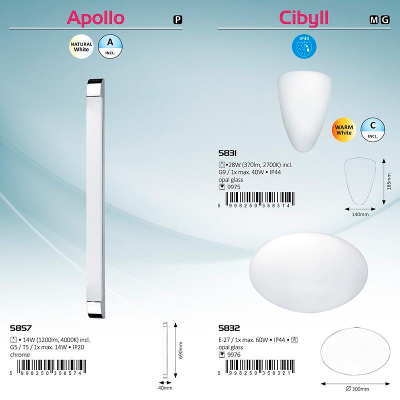 APLICA DE PERETE APOLLO G5 T5 1X14W IP20 40X690MM ALBĂ RABALUX