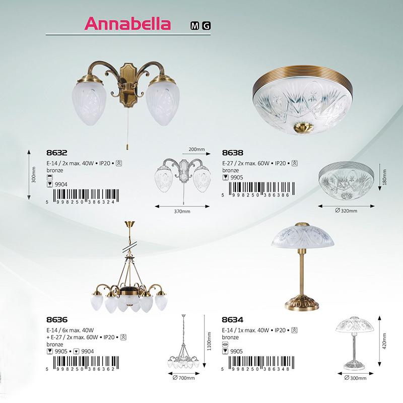 APLICA DE PERETE ANNABELLA E27 2X D320MM BRONZE RABALUX