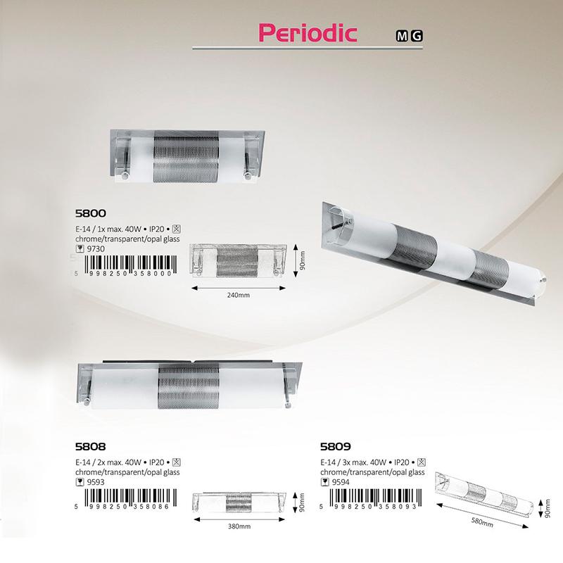 APLICA DE PERETE PERIODIC E14 2XMAX. 40W 90X380MM METAL/STICLĂ RABALUX