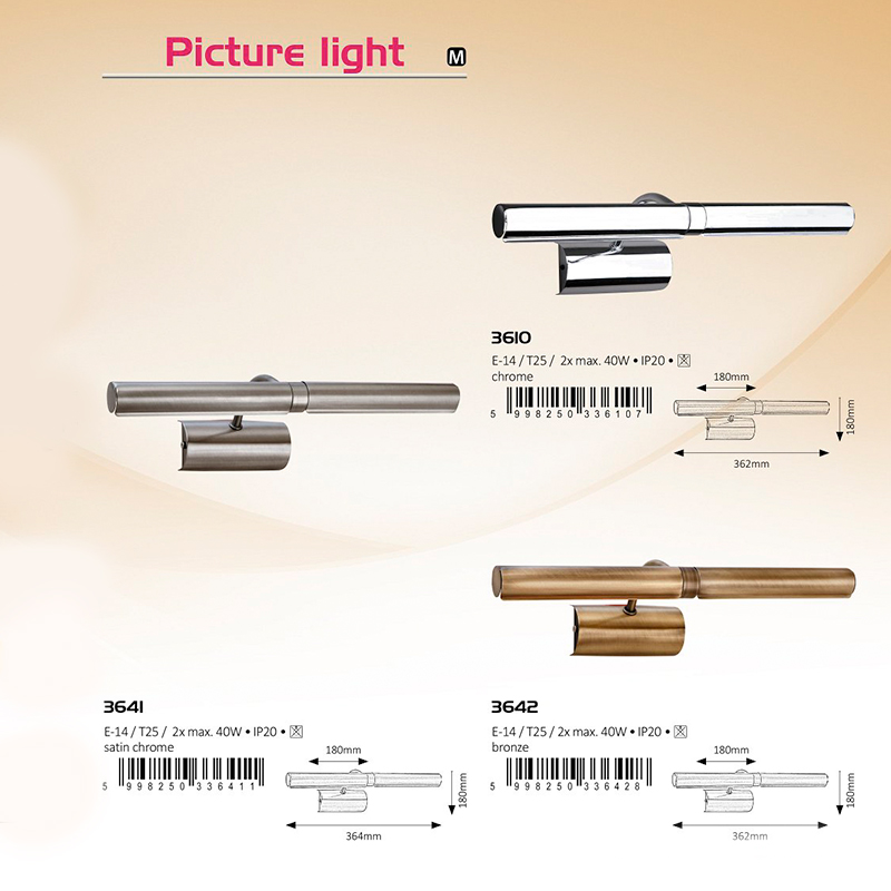 APLICA PICTURE LIGHT E14 T25 2XMAX. 40W 180X364MM BRONZE RABALUX