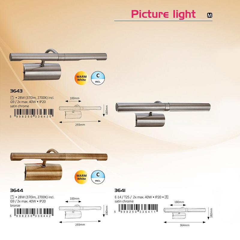 APLICA PICTURE LIGHT G9 2XMAX. 40W 180X293MM CHROME-MAT RABALUX