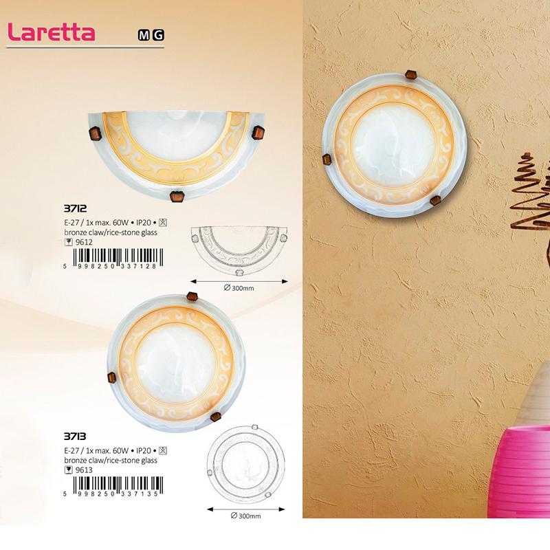 APLICA DE PERETE LARETTA E27 MAX. 60W  D300MM ALB/GOLD RABALUX